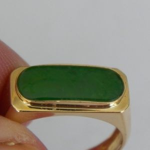 18K YELLOW GOLD JADE 7 1/2 RING